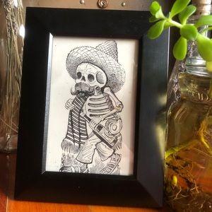 Other - Vintage Skeleton Cowboy Postcard Framed Print